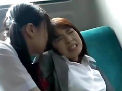 Asian Schoolgirl Has Joy with Teacher on Bus