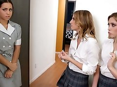 Spoiled bi-atch tricked by a maid and a friend