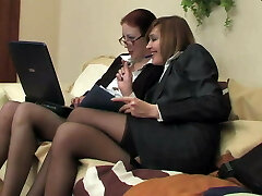 Two business ladies in tights