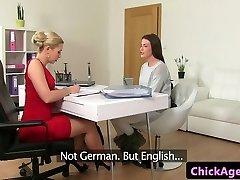 Classy casting lesbians finger fuck in office