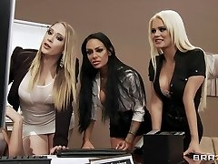 Four Sexy large-boob office sluts fuck boss' large-dick in office