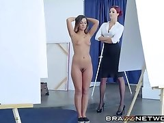 Hot ass model gets involved in lesbo play with boss