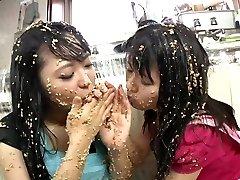 Subtitled extraordinary Japanese natto sploshing lesbian babes