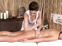 Erotic lesbian massage with european models