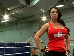 Mean chicks Kerry Louise and Peaches grapple on the boxing ring