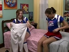 Lesbo cheerleaders in the dormitory