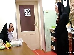 Horny nuns play with food & each other
