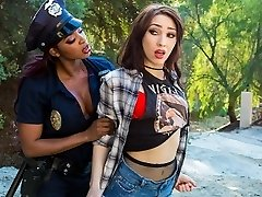 Homeless girl gets banged by ebony cop