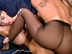 foot worship stocking big tits lesbian bitches