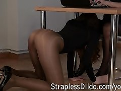 Youthfull student mistress playing with her romp doll