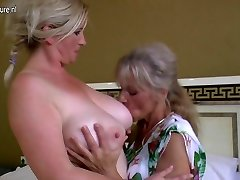 4 old and young lesbians having exclusive party