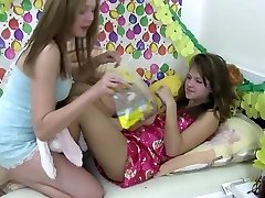 Young small tits girl/girl Dominique and Blondie