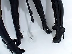 Lesbian DOMINATION & SUBMISSION Latex Two doms punish a sub
