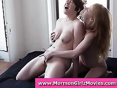 Lesbian Mormon unexperienced couple in underwear licking pussy