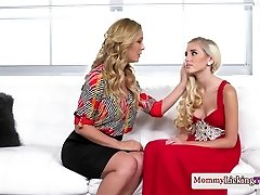 Classy mother pussylicks and thumbs stepteen