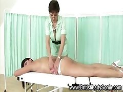 Mature british nurse Sonia massages slut patient