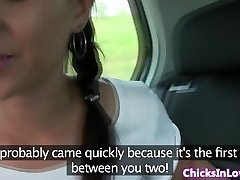 Euro lesbians in truck licking snatch