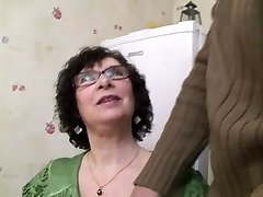 Huge-titted Granny in Stockings and Glasses Porks