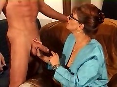 Cougar in Glasses and Fishnets Smashes