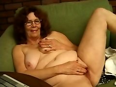 Granny in Glasses Disrobes and Plays