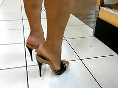 Mature legs & soles in high high-heeled slippers mules (best of)