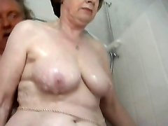 Sumptuous grandma bathing