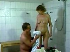 German mother getting pulverized in the bathroom