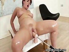 Orgy machine drilling mature pussy