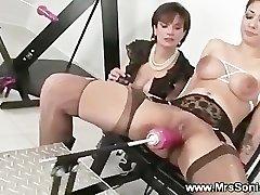 Gagged mega-bitch and her screwing machine