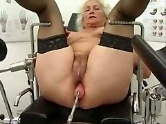 Grannie Norma Works out on a Romp Machine