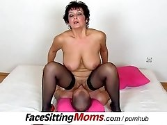 Big natural tits lady Greta with a chap czech facesitting