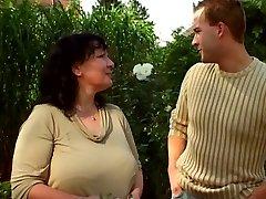 Garden grandmother and junior guy 03