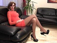 Amazing black high high-heeled shoes draping