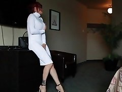 Audrey, White dress, Louboutin and toy