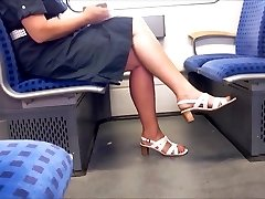 Candid Mature Gams With Longer Red Toenails