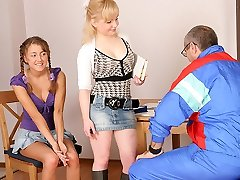 TrickyOldTeacher - Two hot coeds get naked and give mature tutor threesome and blowing