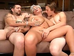 Ash-blonde mom in a 3some.