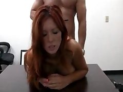 Busty redhead soccer mom heads for an casting and gets fucked