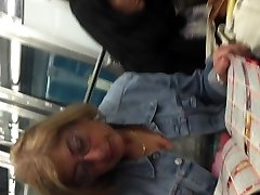 Blonde mature upskirt in metro with face