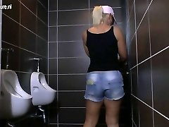 Mature super-bitch mother gets fucked on a toilet