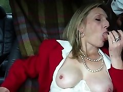 Hot mature blonde smoking oral pleasure