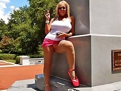 Smoking public upskirts in hooker high-heeled shoes