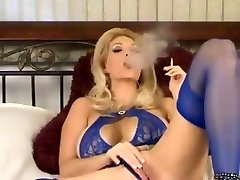 Torrid Mature In Lingerie and High-heeled Slippers Smoking and Diddling