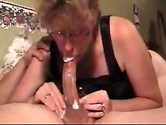 slut mom deep-throats cock & guzzles my load