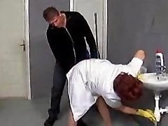 Older cleaner seduced on the shitter floor