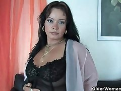 Sleazy moms in harness and stockings having solo fucky-fucky