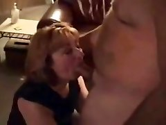 Horny housewife deep-throats hubby's thick cock buddy