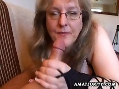 Busty first-timer wife hj and blowjob