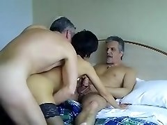 French mature loves trios with husband and  pal