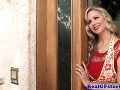 Mature blond housewife titfucks the milkman